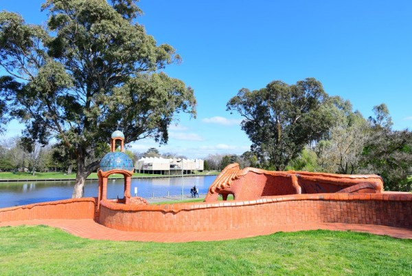 The Ceramic Mural with Benalla Art Gallery across the lake